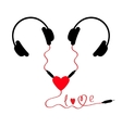 Two headphones Earphones couple Audio splitter vector image
