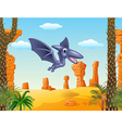 Cute bird pterodactyl flying with prehistoric vector image