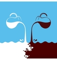 Milk hot chocolate flows from jug Spray drops vector image vector image