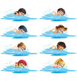 Many children swimming in the pool vector image
