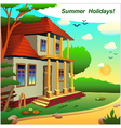 A small cottage on the nature of summer vector image