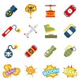 Bomb flat icons Bombs and explosives pictograms vector image