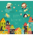 Cute angels celebrating Valentines Day vector image