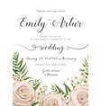 floral wedding invitation card design with flowers vector image