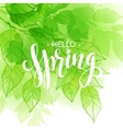 Hand lettered style spring design on watercolor vector image