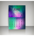 Polygonal 2016 calendar design for JUNE vector image