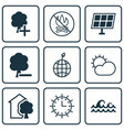 set of 9 eco-friendly icons includes world vector image