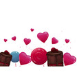 sweet banner with lollypops and cake vector image