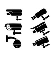 surveillance security camera icons set vector image vector image
