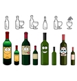 Cartoon characters of wine bottles in various vector image vector image