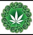 Marijuana leaf silhouette design stamp vector image