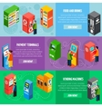 Vending Payment Machines Isometric Banners Set vector image