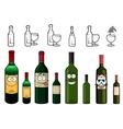 Cartoon characters of wine bottles in various vector image