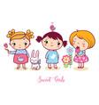 cute cartoon girls set v vector image