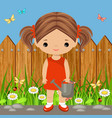Cute girl with a watering can vector image