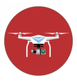Digital white drone with recording camera vector image