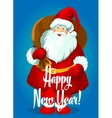 Happy New Year card Santa with gifts bag vector image