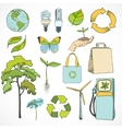 Doodles ecology and environment icons set vector image vector image