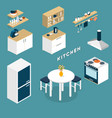 isometric kitchen interior objects - 3D vector image
