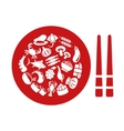asian food icons in plate vector image