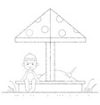 boy playing in the sandbox outline vector image