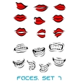 Cartooned lips and mouth set vector image