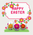 Decorated easter eggs in the grass with flow vector image