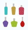 Different bottles with colorful sparkling liquid vector image
