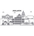 india jaipur architecture line skyline vector image
