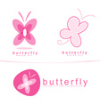 Pink butterfly icon logo vector image