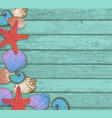 sea shells on a wooden background vector image