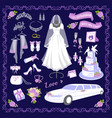 wedding cartoon style icons vector image