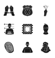 Crime set icons in black style Big collection of vector image