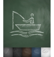 Fishermen on a boat icon Hand drawn vector image