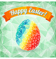 Colorful Easter egg on polygonal background vector image vector image