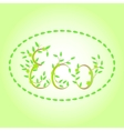 word Eco with leaves vector image