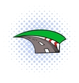Racing track icon comics style vector image