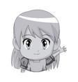 Cute cartoon anime little girl chibi character vector image