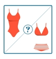 Swimsuit choosing icons set isolated on white vector image