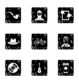 Subculture hipsters icons set grunge style vector image