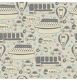 Cute seamless pattern with transport Cartoon vector image