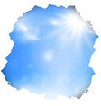 paper hole with blue sky and sun vector image