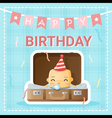 Happy birthday card with cute baby 2 vector image