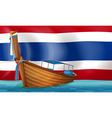 A boat in front of the Thai flag vector image