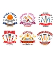 Repair tool and building instrument badge set vector image