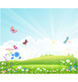 Beautiful summer landscape with flowers butterfli vector image