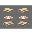 Low poly cafe table with sun umbrella vector image