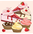 Dessert muffins and cakes vector image