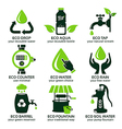 flat icon set for green eco water vector image