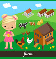 cute girl holding a chicken vector image